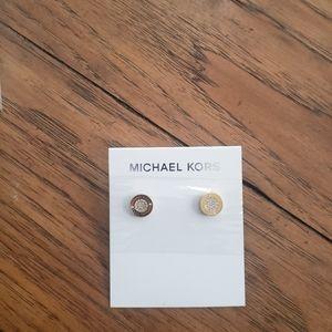 Michael Kors Logo Gold Earrings New In Pac…